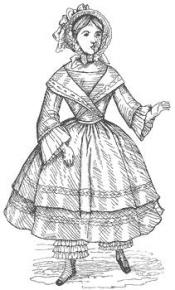 Click to enlarge image 1854 Dress with Crossed Collar that fits American Girl Dolls - Pattern 54